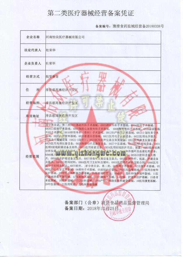 II类医疗器械经营备案凭证